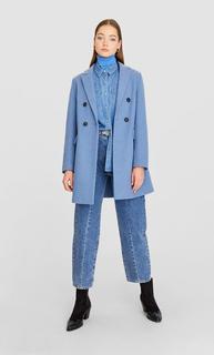 Wollige jas DAMES Blauw L