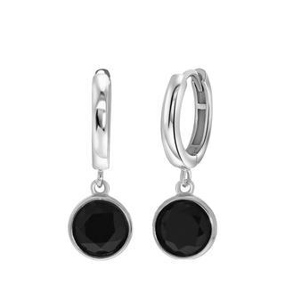 Zilveren oorbellen Gemstone black onyx