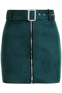 Petite Belted Suedette Mini Skirt