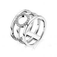 ZINZI zilveren multi-look ring rond open wit ZIR1359