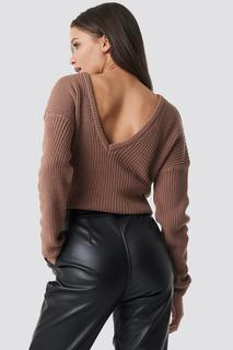 Knitted Deep V-neck Sweater