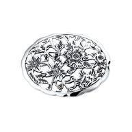 The Jewelry Collection Broche Bloemen - Zilver Geoxideerd