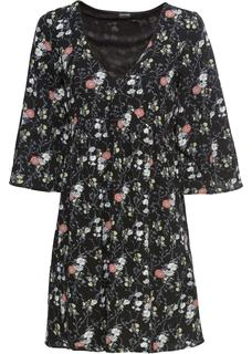 Dames jurk halve mouw in zwart