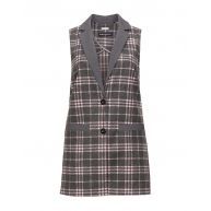 Checked long line wool blend waistcoat
