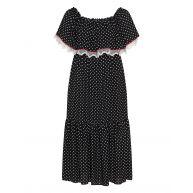 Polka dot bardot maxi dress