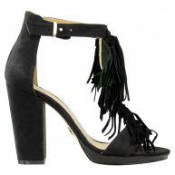 Sacha Suede sandalen franjes  - zwart