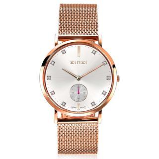 Glam horloge zilvergekleurde wijzerplaat en roségoudkleurige kast en stalen mesh band, witte crystals bij uuraanduiding, extra secondemeter, 34mm extra dun ZIW526M