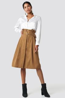 Paperbag Detail Midi Skirt