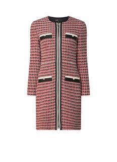 Romane midi-jurk van tweed met contrastbies