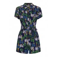 Collectif Frou Palm Tree Playsuit Navy