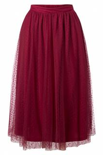 50s Timea Tulle Swing Skirt in Wine Red
