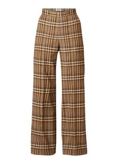 Narissa high rise wide fit pantalon met ruitdessin