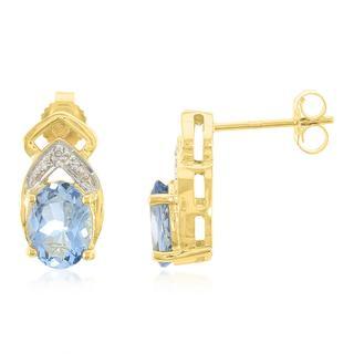 Gouden oorbellen met Santa Maria-aquamarijnstenen