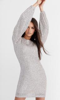 Sequin dress with puff sleeves DAMES Grijs L