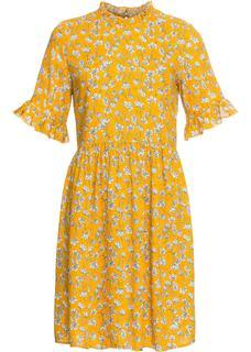 Dames jurk korte mouw in geel