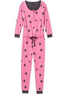 Dames jumpsuit van shirtstof lange mouw in pink