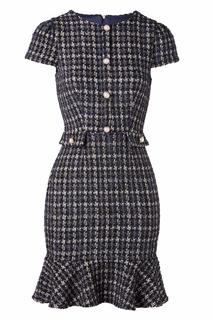 50s Mini Boucle Pephem Pencil Dress in Navy