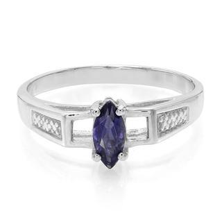 Zilveren ring met een Ceylon ioliet (Molloy)