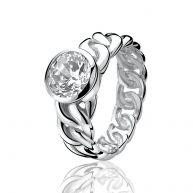 ZINZI zilveren ring gourmet wit ZIR655