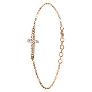 Stalen armband kruis roseplated met zirkoni