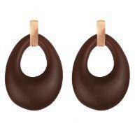 Chique Oval Earrings Rose - Brown Matt