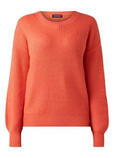 Ribgebreide pullover van wol met ronde hals