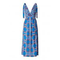 Sandro Maxi-jurk in bloemendessin met split en onderjurk
