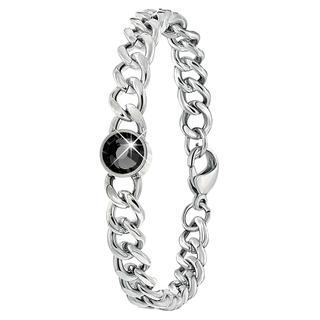 Stalen armband schakel met zwarte zirkonia