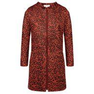 Suedine Leopard Blazer - Red