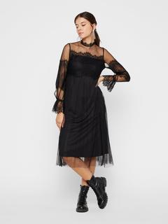 Halfdoorzichtige kanten midi-jurk