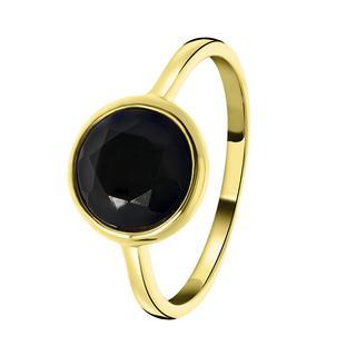 Zilveren ring gold Gemstone black onyx