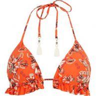 Oranje gebloemde triangel-bikinitop met ruches