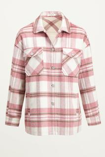 Roze oversized jas met ruit