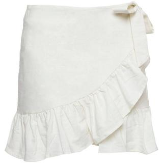 WHITE LINEN WRAP SKIRT