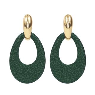 Leather oval earring - Green