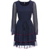 Dames jurk lange mouw in blauw - RAINBOW