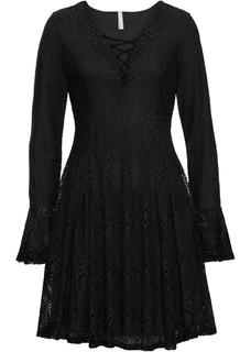 Dames jurk lange mouw in zwart