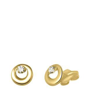 14 Karaat geelgouden oorbellen zirkonia rond 6mm