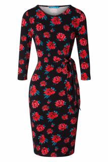 60s Lyon Roses Pencil Dress in Black