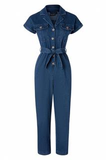 70s Poppy Utility Denim Jumpsuit in Blue