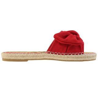 Suedine Bow Flip Flops - Red