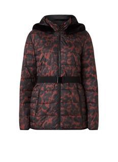 Gewatteerde jas met capuchon en ceintuur