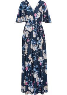 Dames maxi jurk korte mouw in blauw
