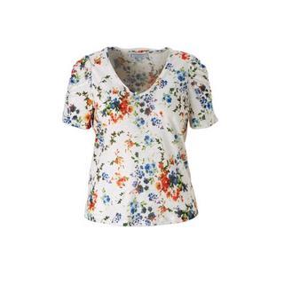 gebloemde linnen T-shirt wit