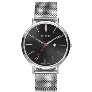 Retro horloge zwarte wijzerplaat zilvergekleurde kast stalen mesh band 38mm extra dun ZIW401M