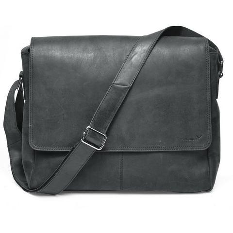 Packenger messengerbag met laptopvak (15 inch), Vethorn, zwart