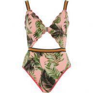 Roze lang zwempak met tropische print en geschulpte rand