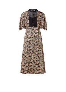 Midi-jurk met kant en paisley dessin