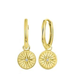 Zilveren oorbellen gold disc/ster met zirkonia