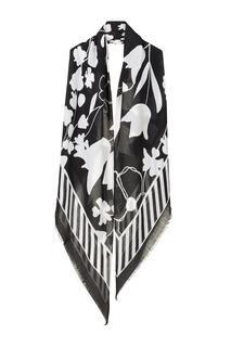 Sjaal Bloemenprint Zwart Wit